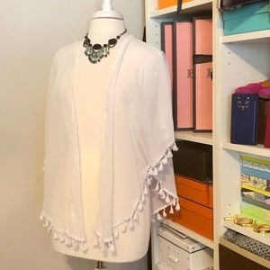 Other - White Batwing Beach Coverup with Tassels